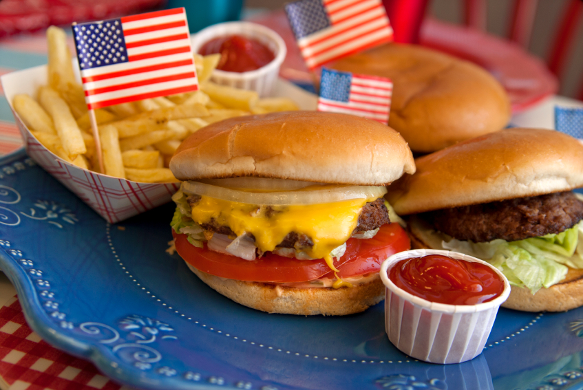 Burgers on a plate with american flags